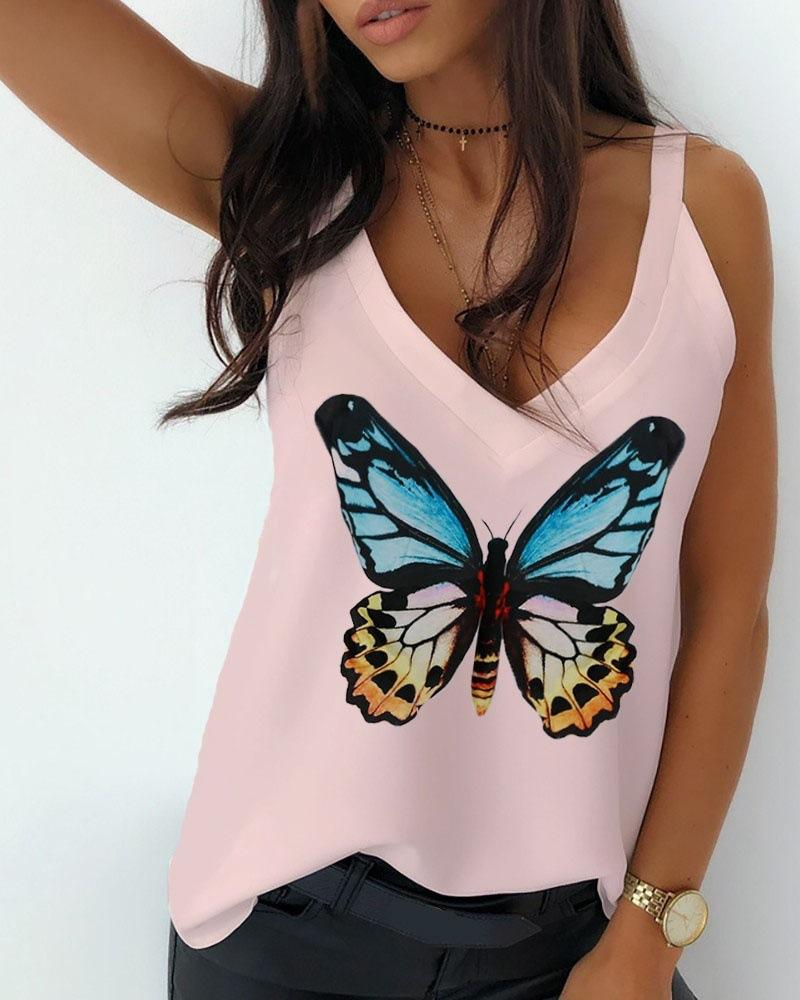 Butterfly Print Thin Strap Casual Top фото