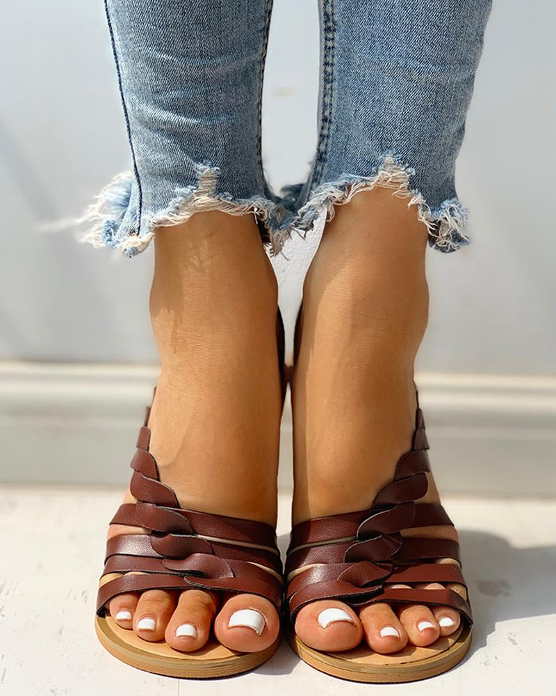 Solid Hollow Out Open Toe Flat Sandals
