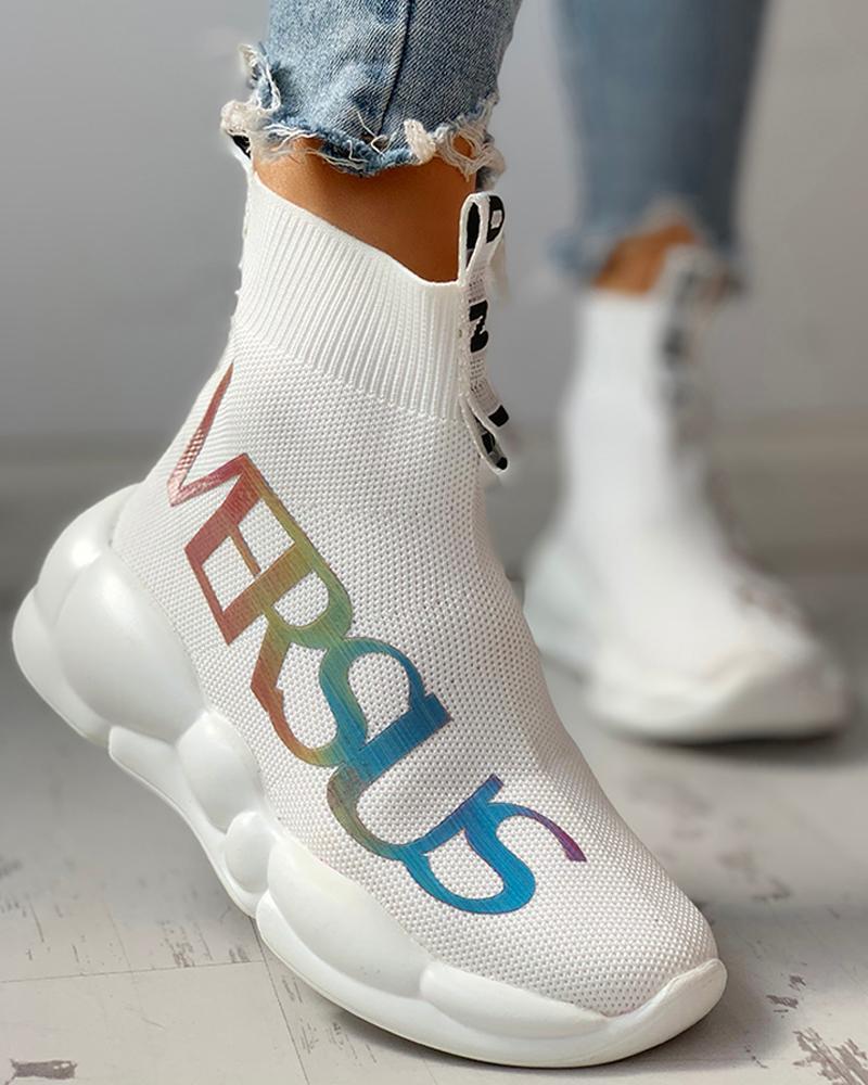 chicme / Zapatillas casual transpirables con estampado de letras