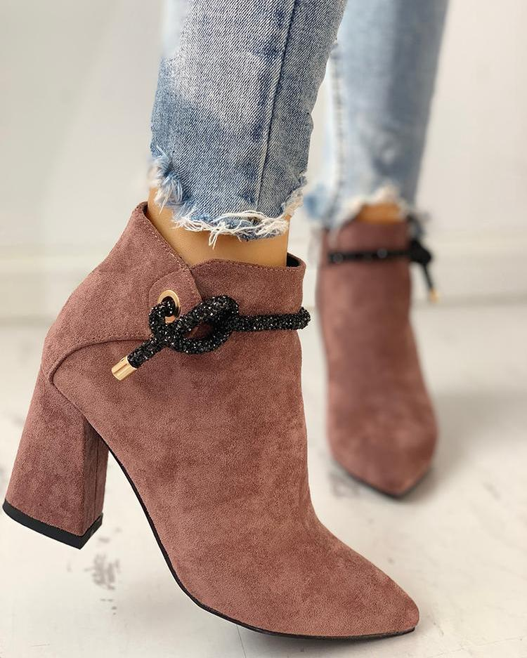 Shiny Shoelace Detail Pointed Toe Boots