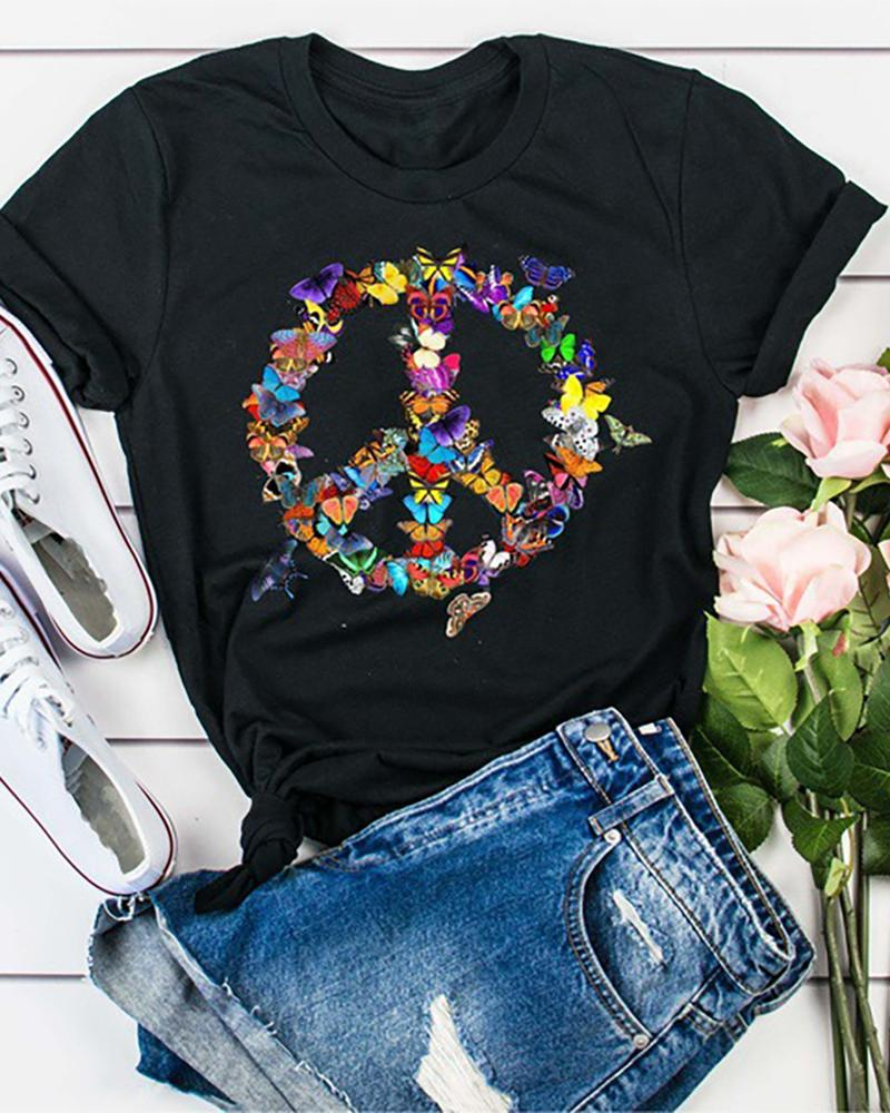 Butterfly Print Short Sleeve Casual T-shirt фото