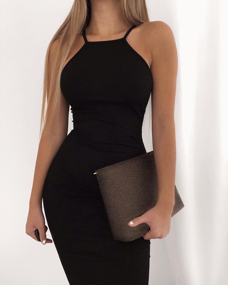 Halter Solid Knit Sleeveless Midi Dress фото