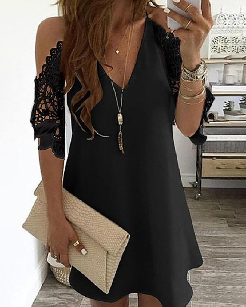Cold Shoulder Crochet Lace Hollow Out Casual Dress фото
