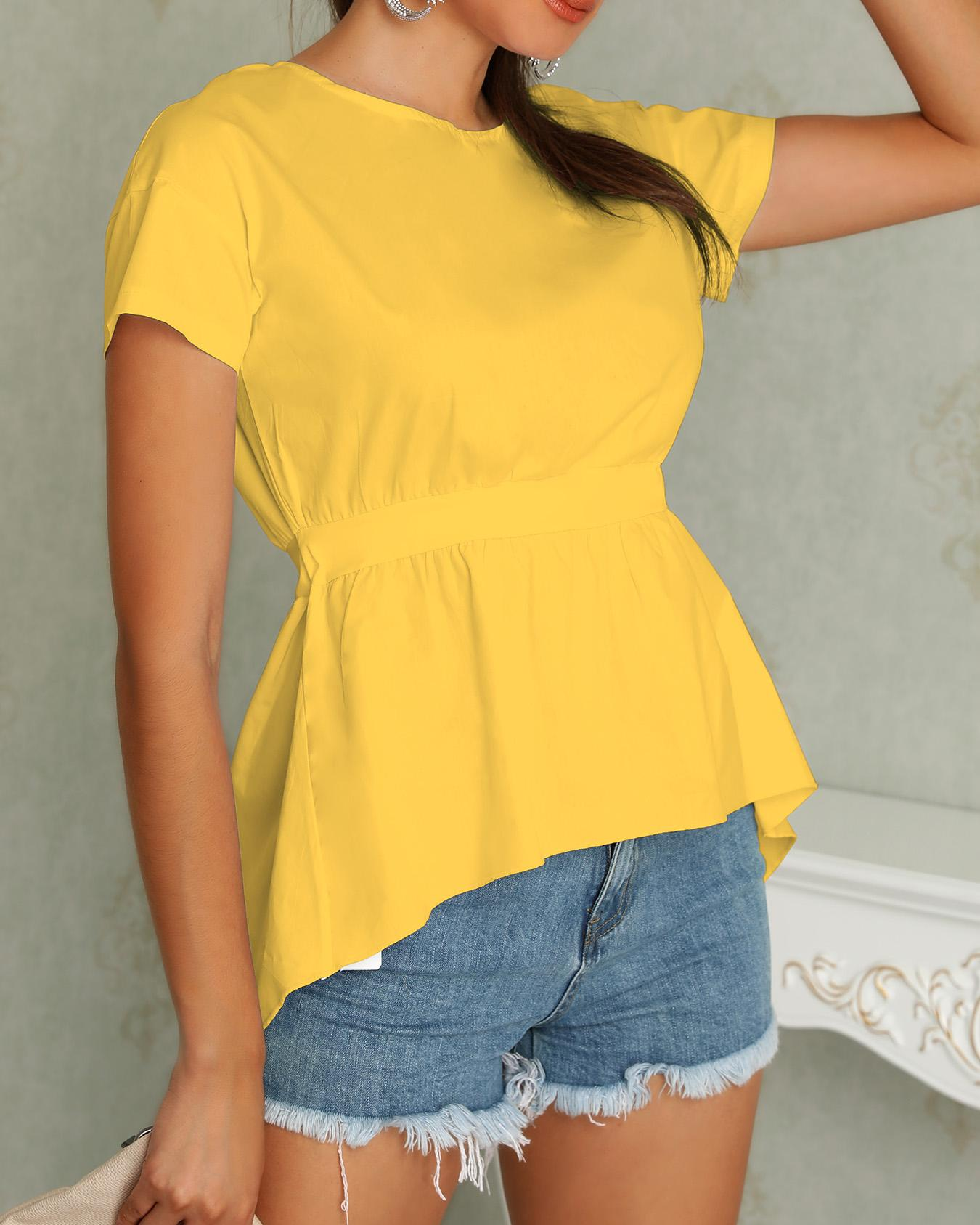 Knot Back Cut Out Irregular Blouse
