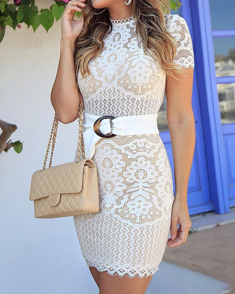 Flower Lace Hollow Out Bodycon Dress
