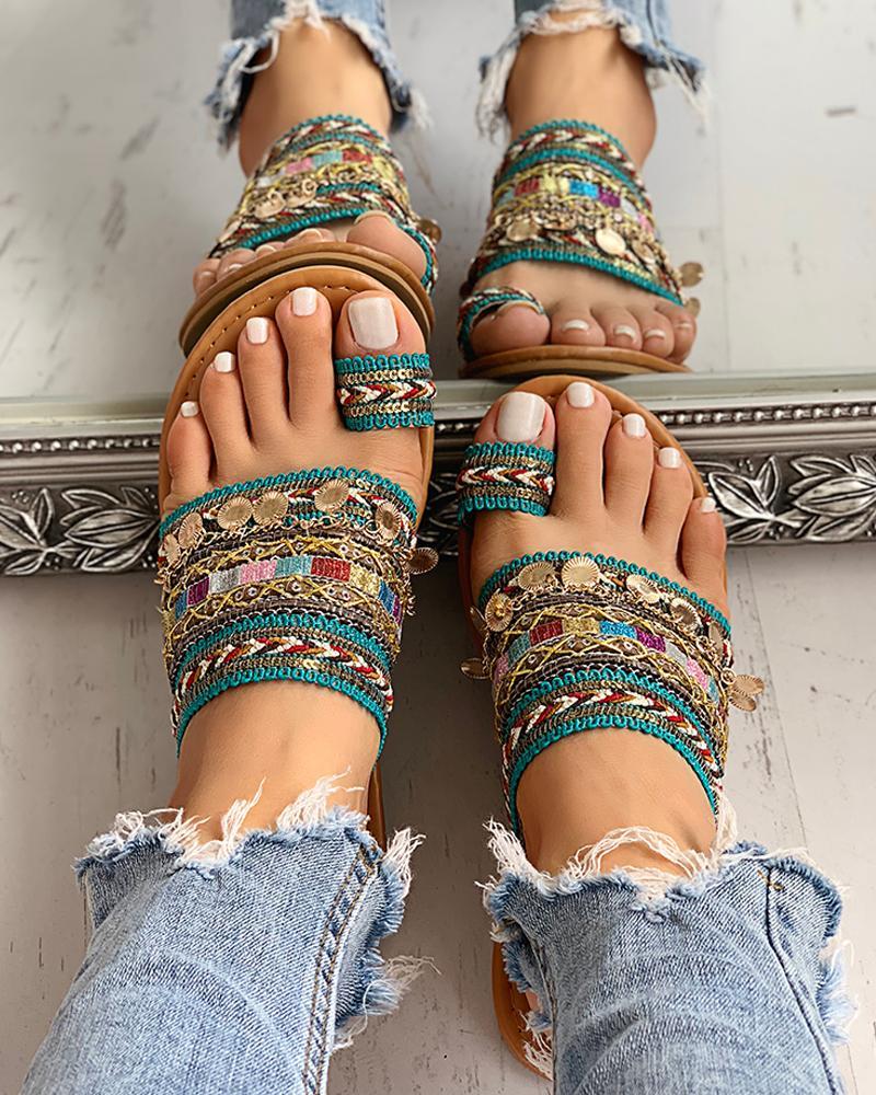 ivrose / Sandalias de anillo de dedo del pie estilo boho étnico