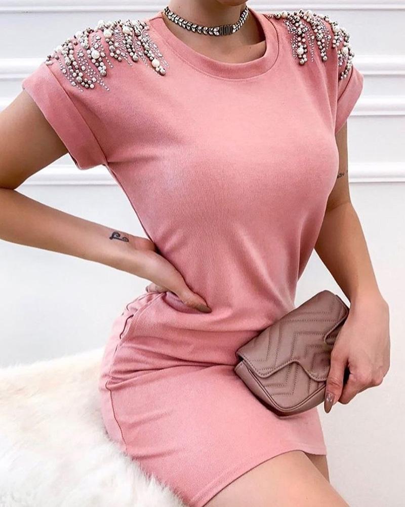 Beaded Design Short Sleeve Bodycon Dress, Pink
