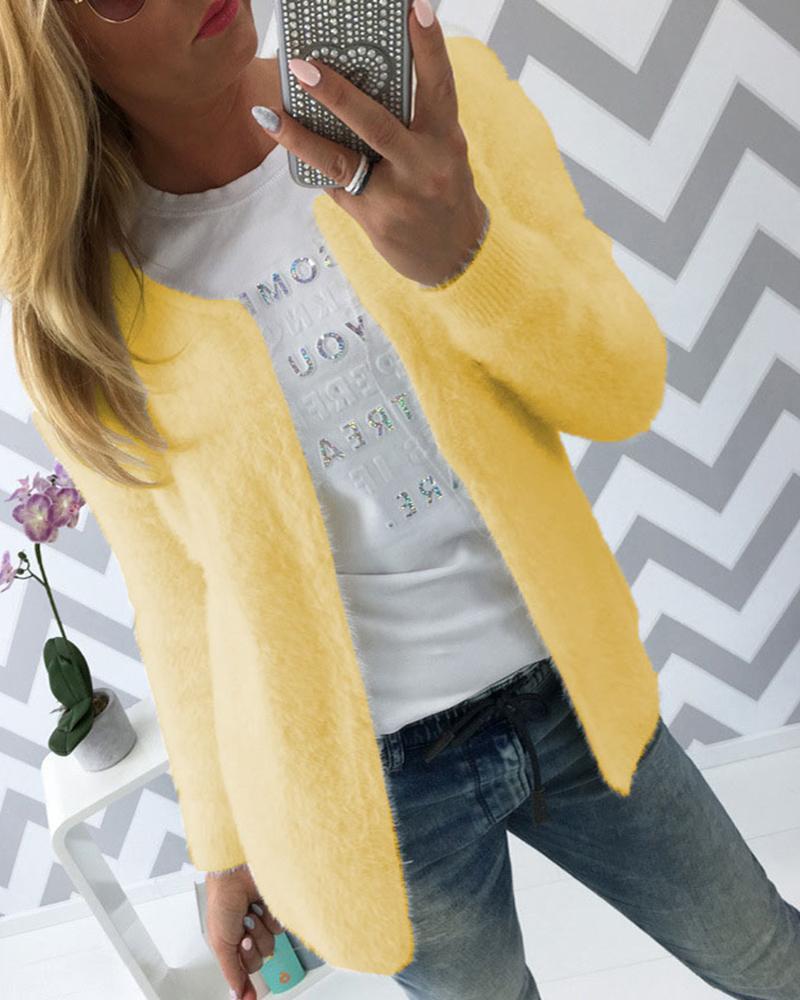 Solid Long Sleeve Fluffy Coat фото