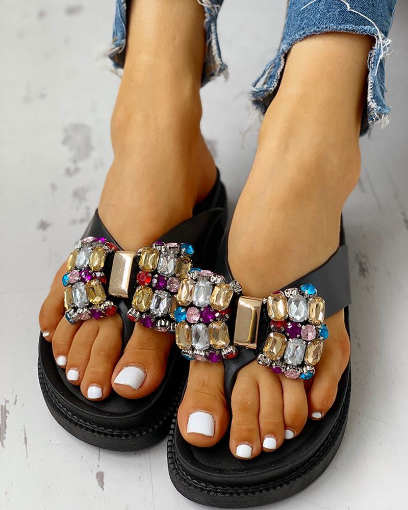 chicme / Studded Bowknot Toe Post Flat Sandals