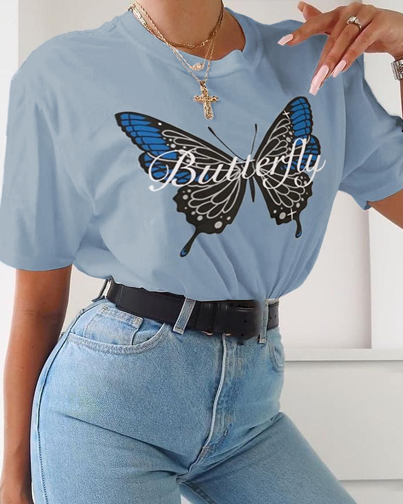 Butterfly Print Round Neck T-shirt фото