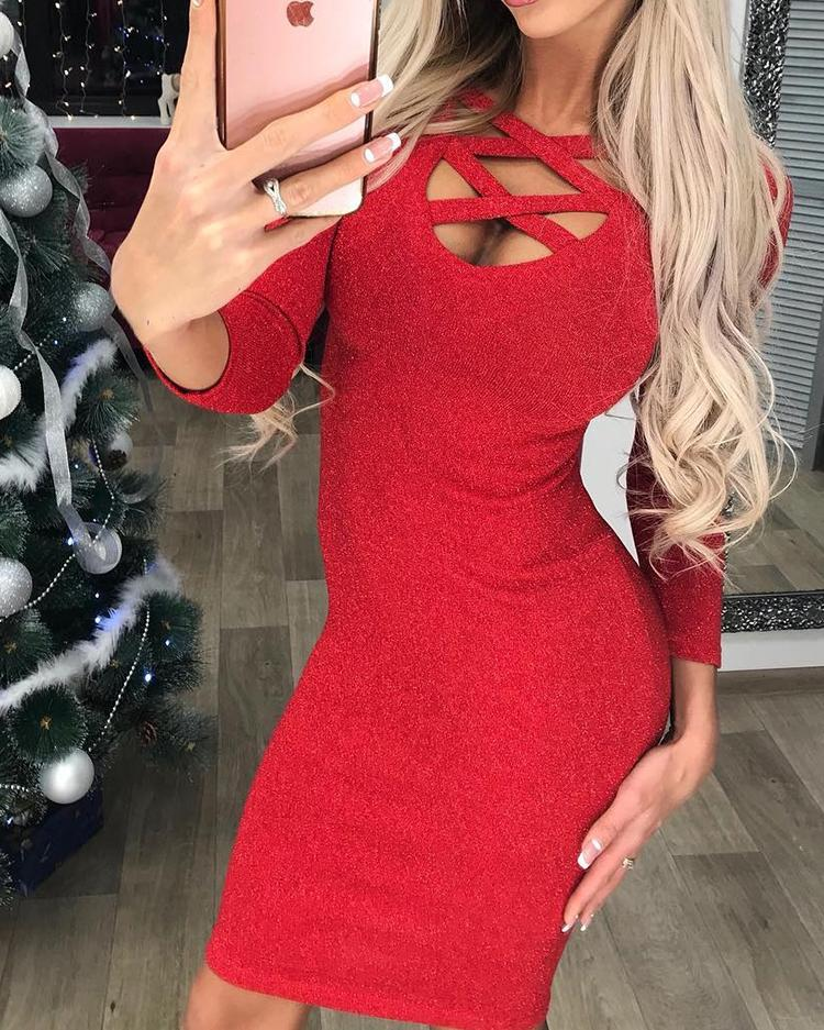Sexy Caged Long Sleeve Bodycon Dress фото