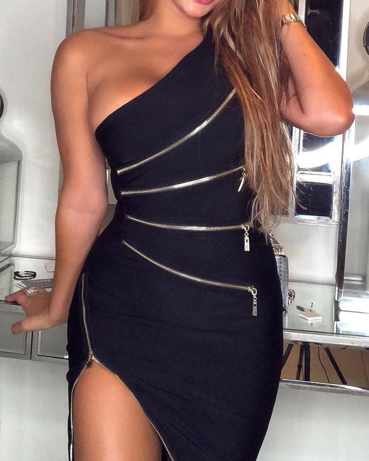 One Shoulder Zipper Design Bodycon Dress