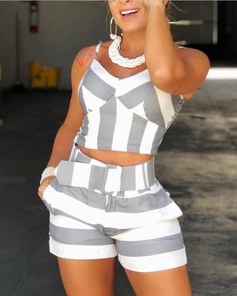 Colorblock Striped Cami Top & Short Sets фото