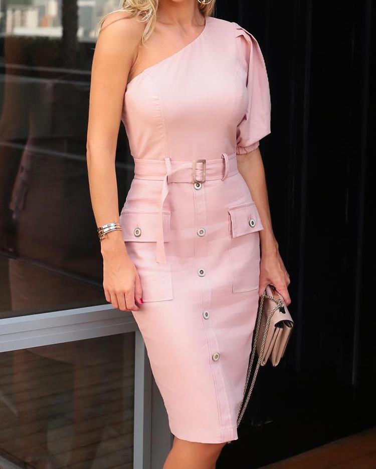 Solid One Shoulder Pocket Button Design Belted Dress