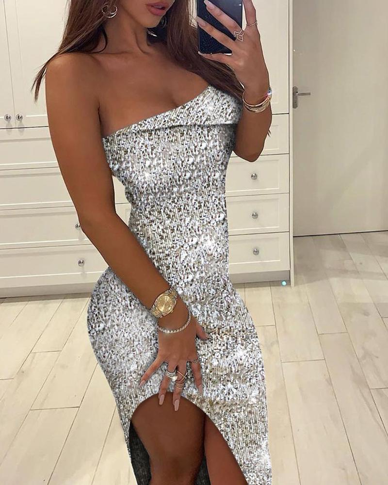 Glitter Sleeveless High Slit Sequins Dress фото