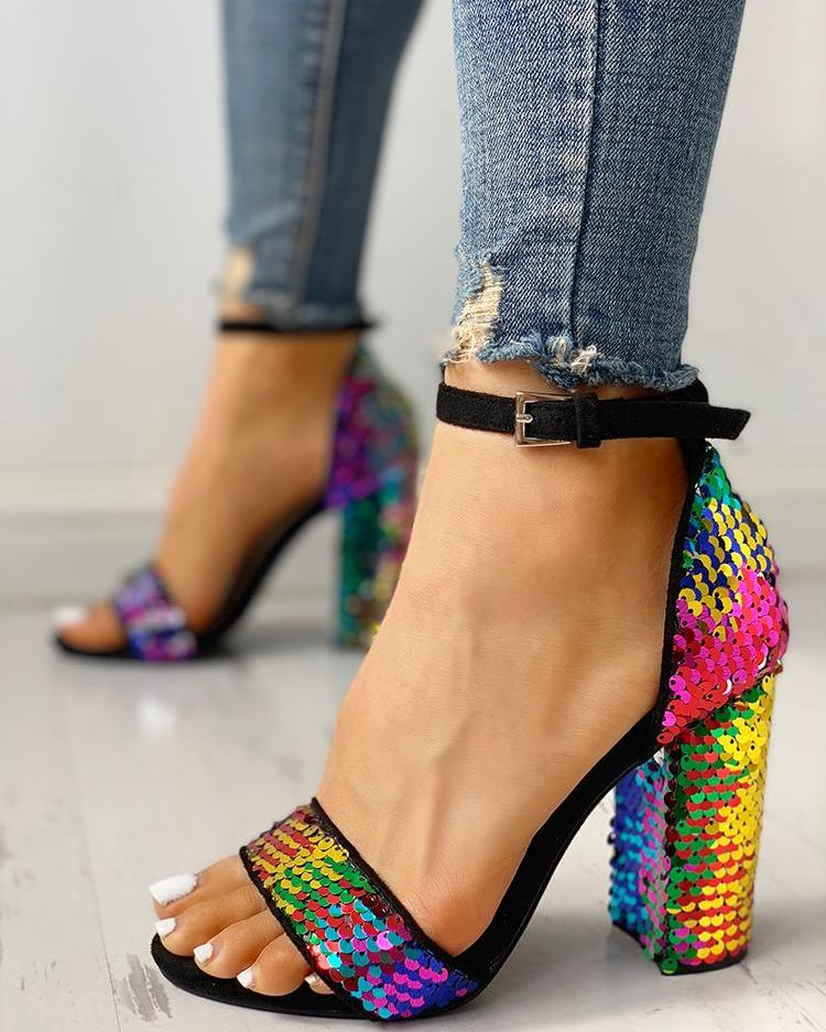 Multicolor Sequin Ankle Strap Chunky Heeled Sandals