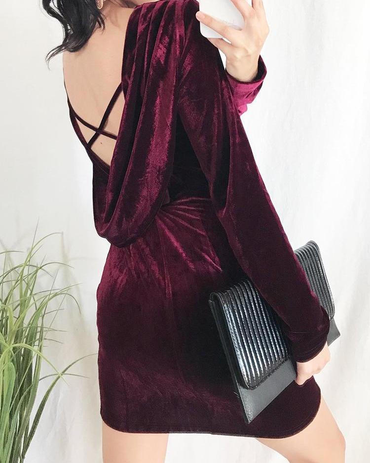 Crisscross Open Back Velvet Dress