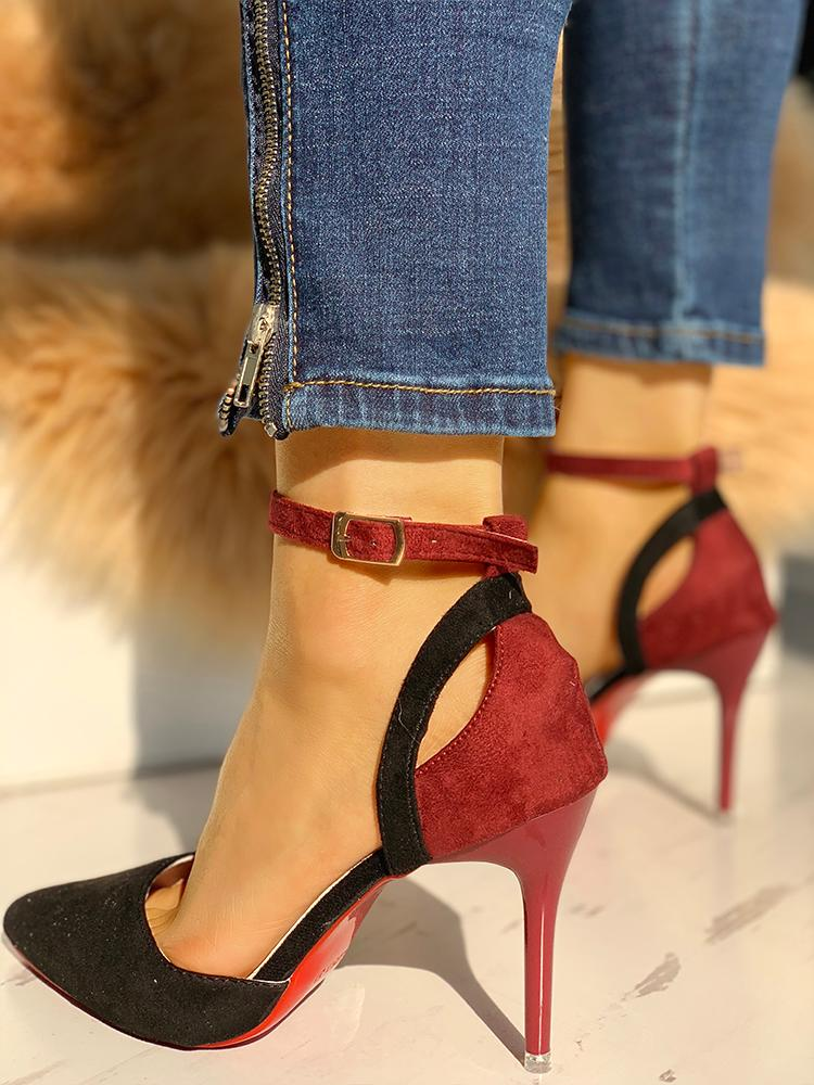 Suede Pointed Toe Ankle Strap Thin Heels
