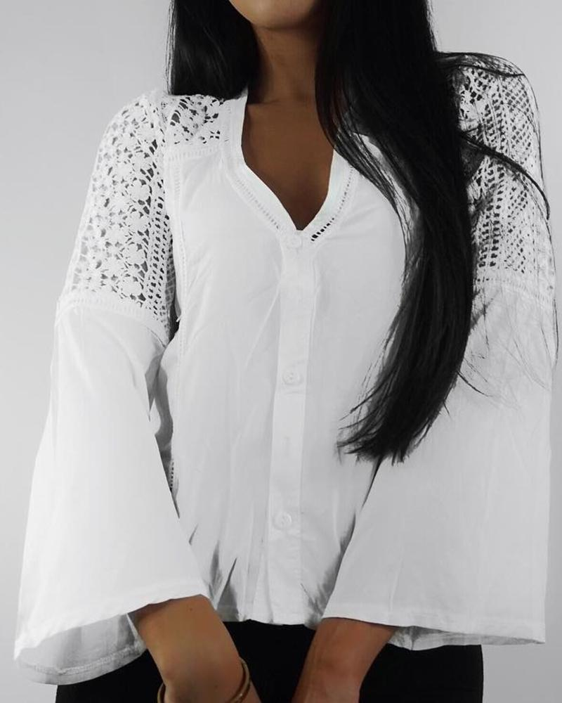 Hollow Out Lace Splicing Flared Sleeve Blouse фото