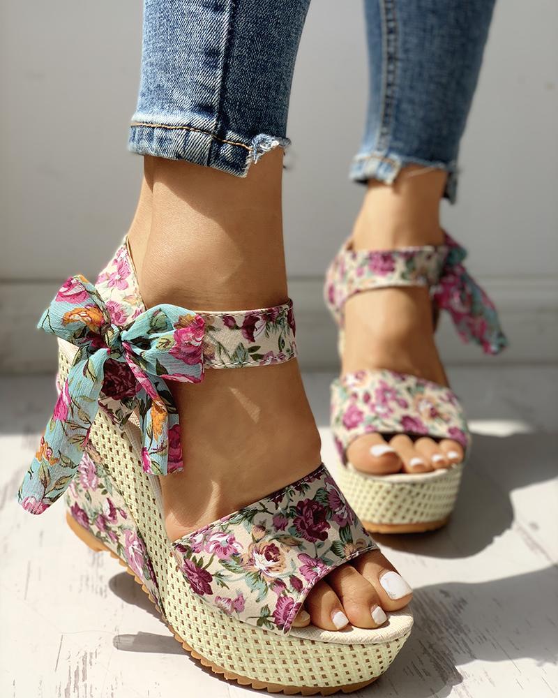 Bowknot Design Platform Espadrille Wedge Sandals