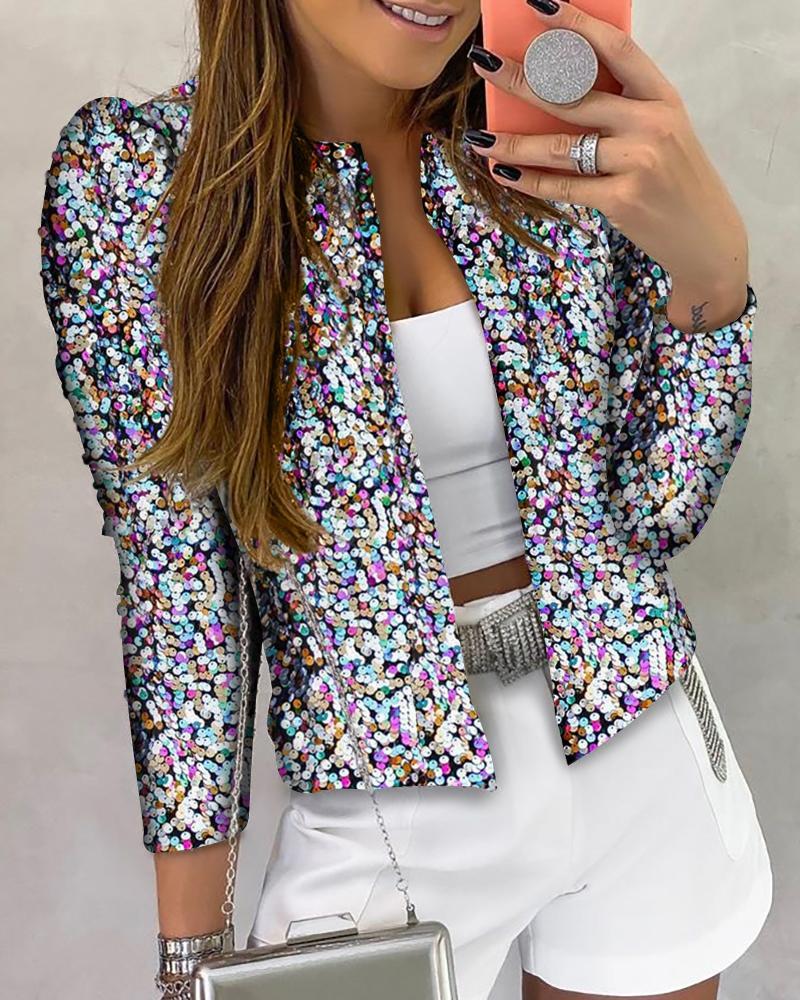 Glitter Long Sleeve Sequins Coat фото