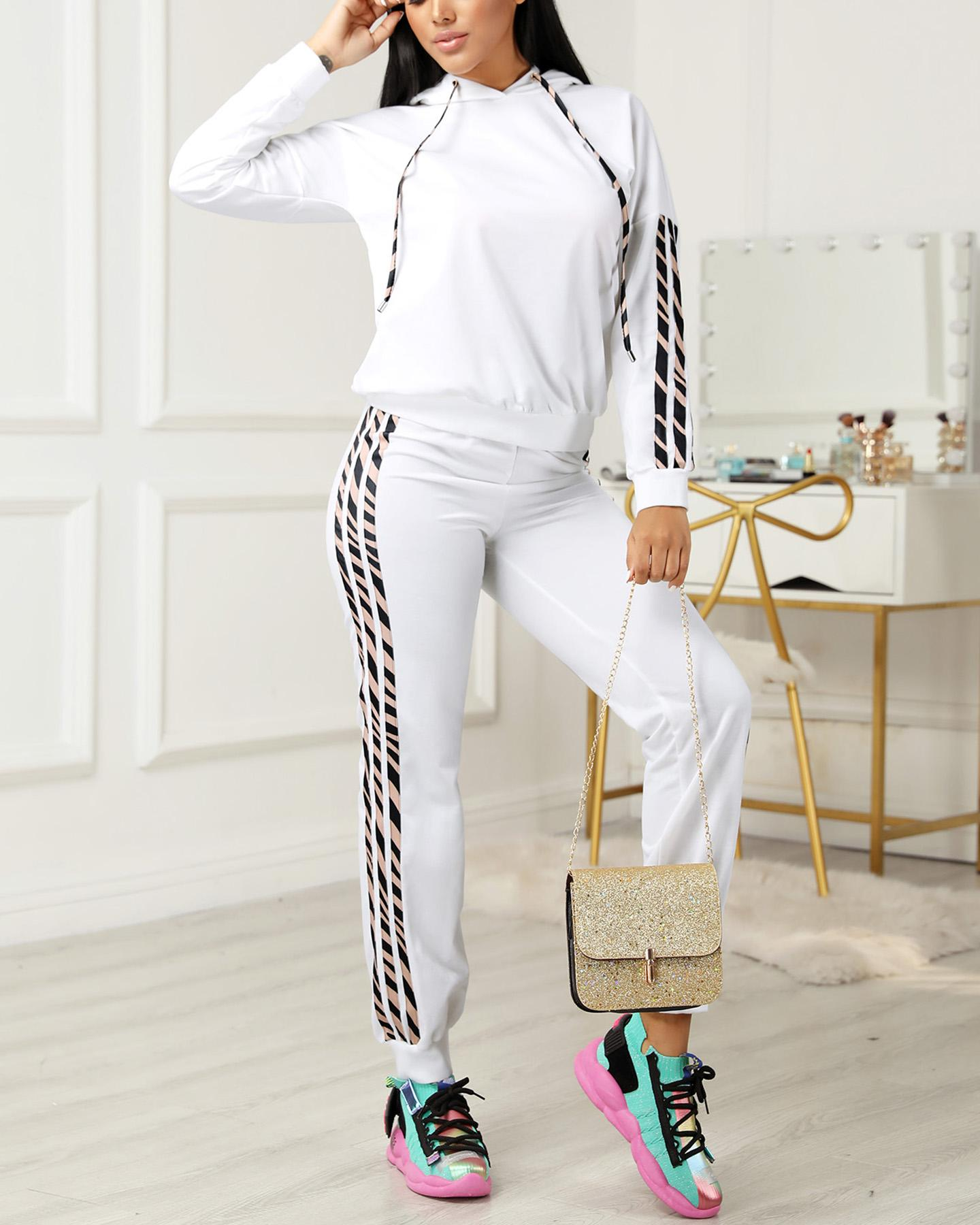 Striped Drawstring Design Hooded Top & Casual Pant Sets фото