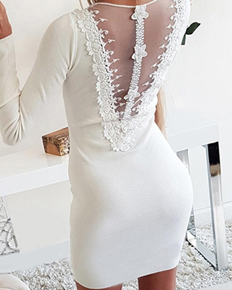 V Neck Zipper Bodycon Mini Dress фото