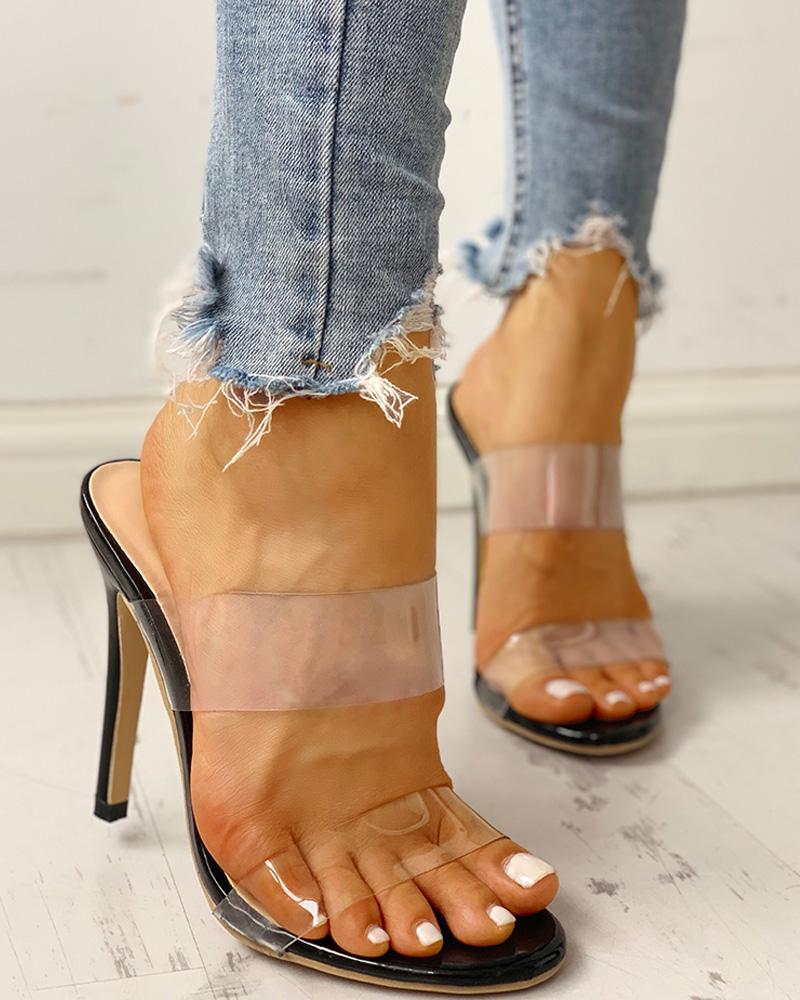 chicme / Sandálias de Salto Fino com Slingback Transparente
