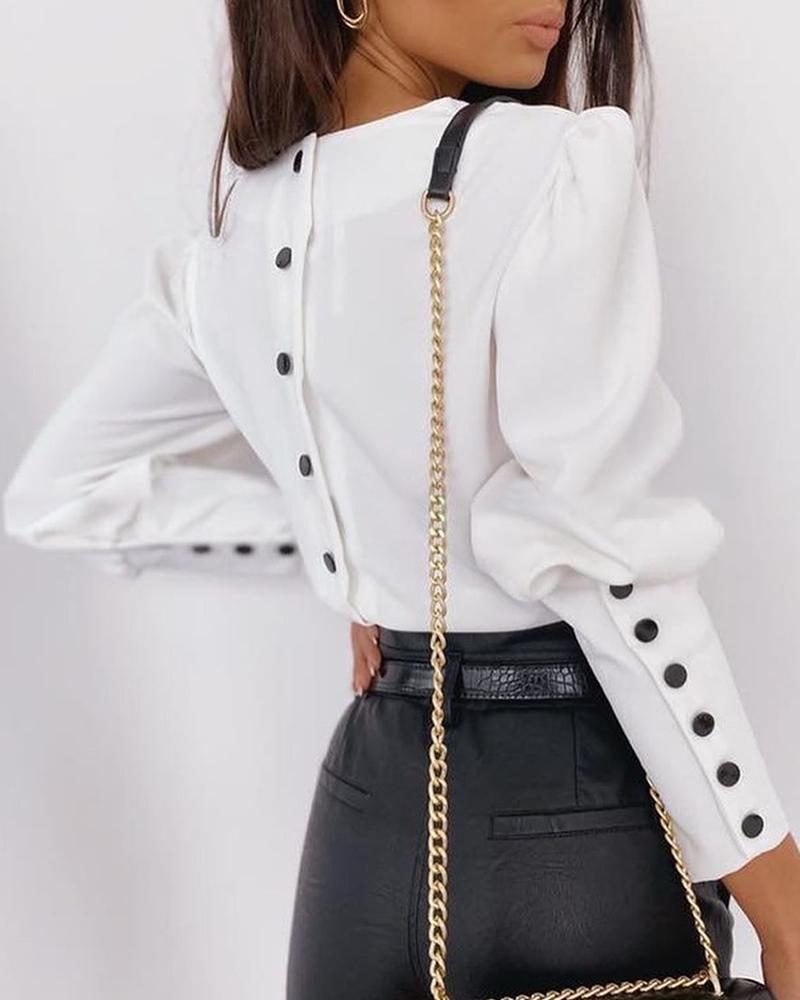 ivrose / Solid Puff Sleeve Buttoned Design Shirt