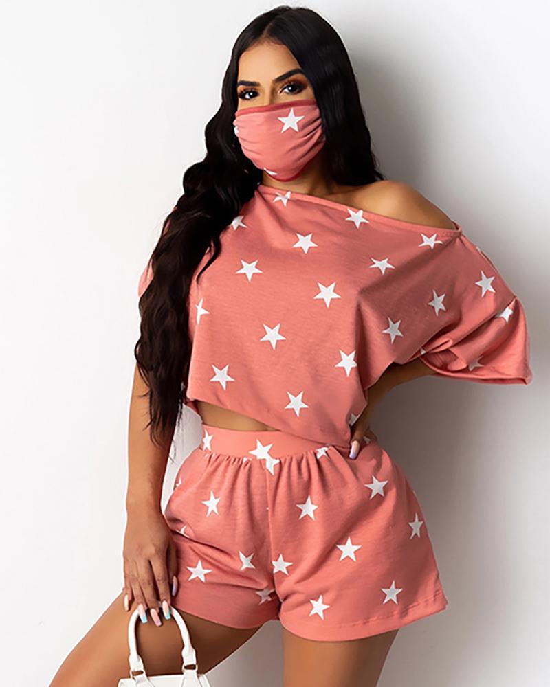 Star Print Casual Top With Face Bandana & Shorts Set фото