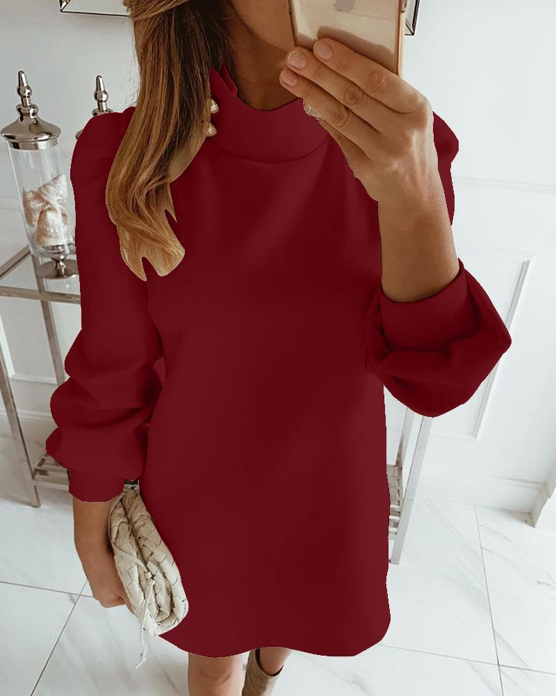 Solid High Neck Mini Dress, Red