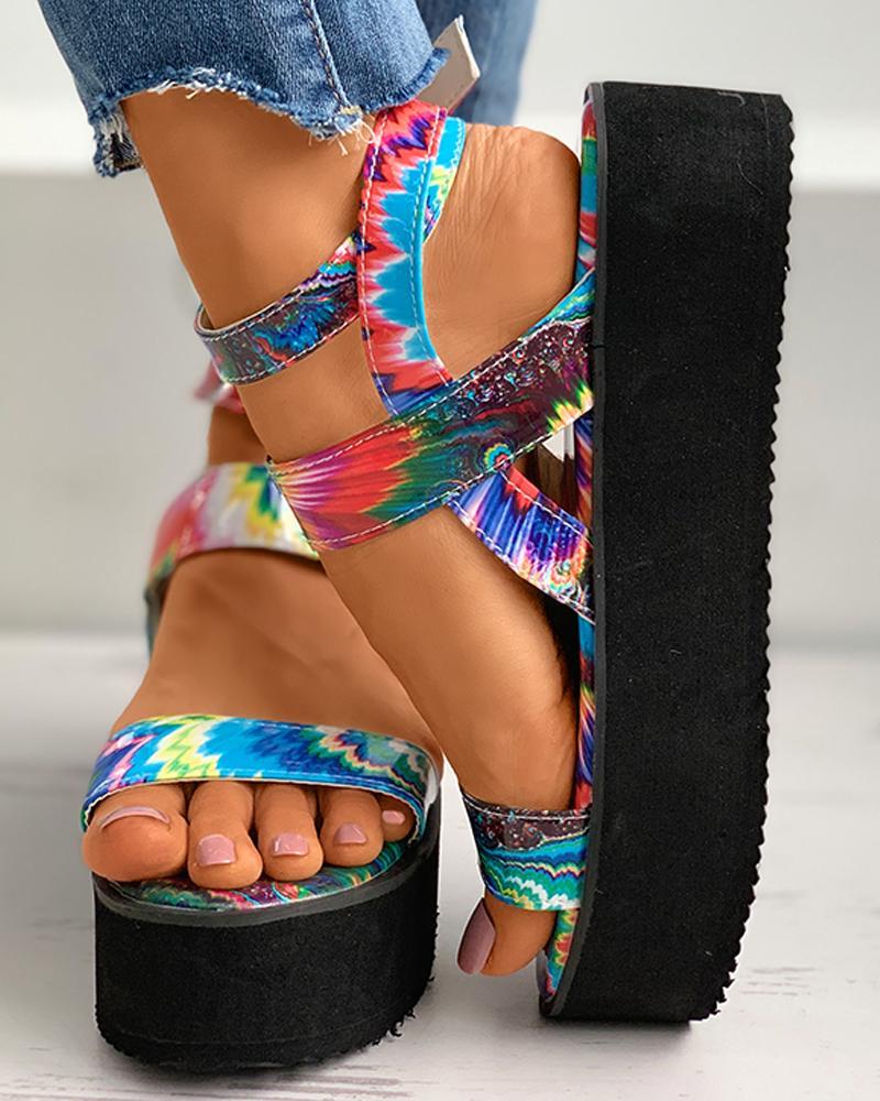 chicme / Sandálias de plataforma com tira no tornozelo Colorblock