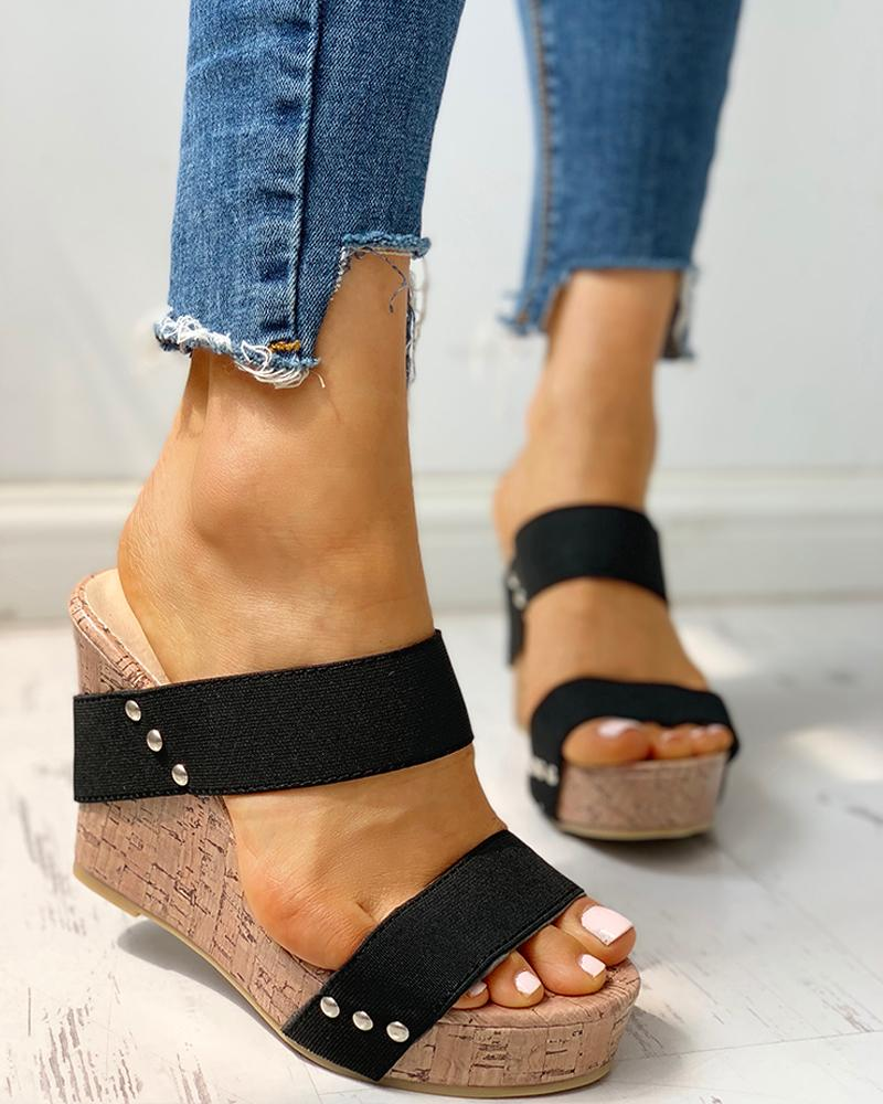 Rivet Detail Platform Wedge Sandals