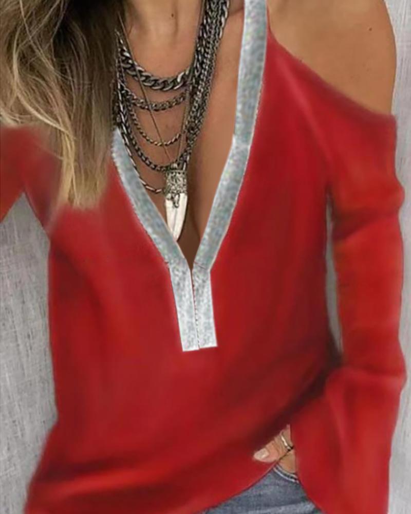 joyshoetique / Cold Shoulder Sequins Patch Long Sleeve Blouse