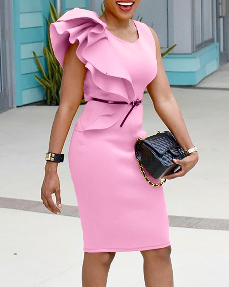 Stylish Ruffled Patchwork Sleeveless Bodycon Dress фото