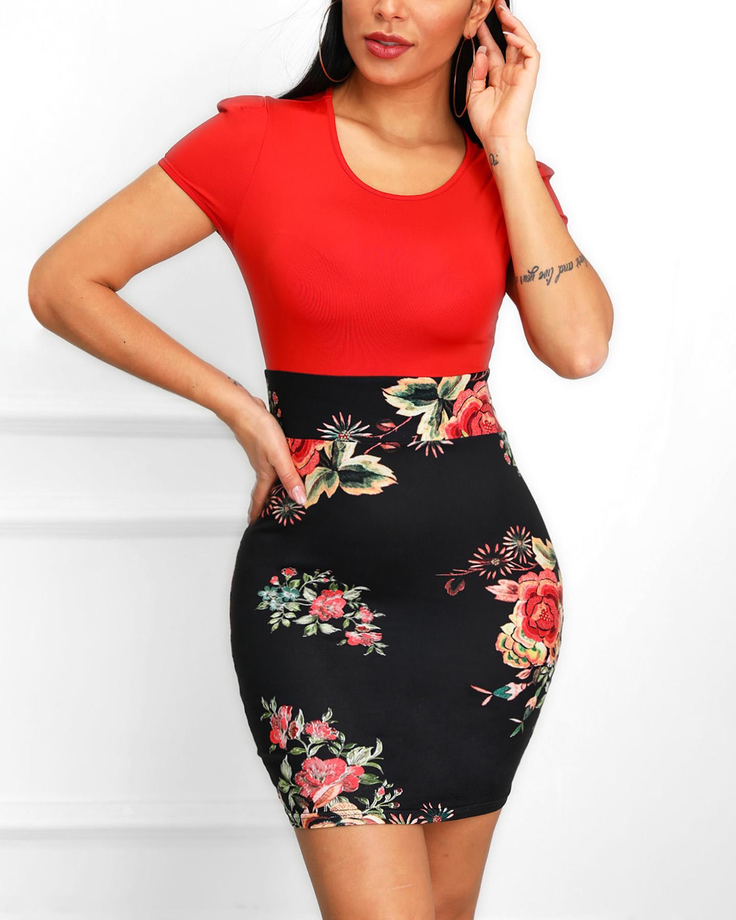 chicme / Floral Print Short Sleeve Insert Dress