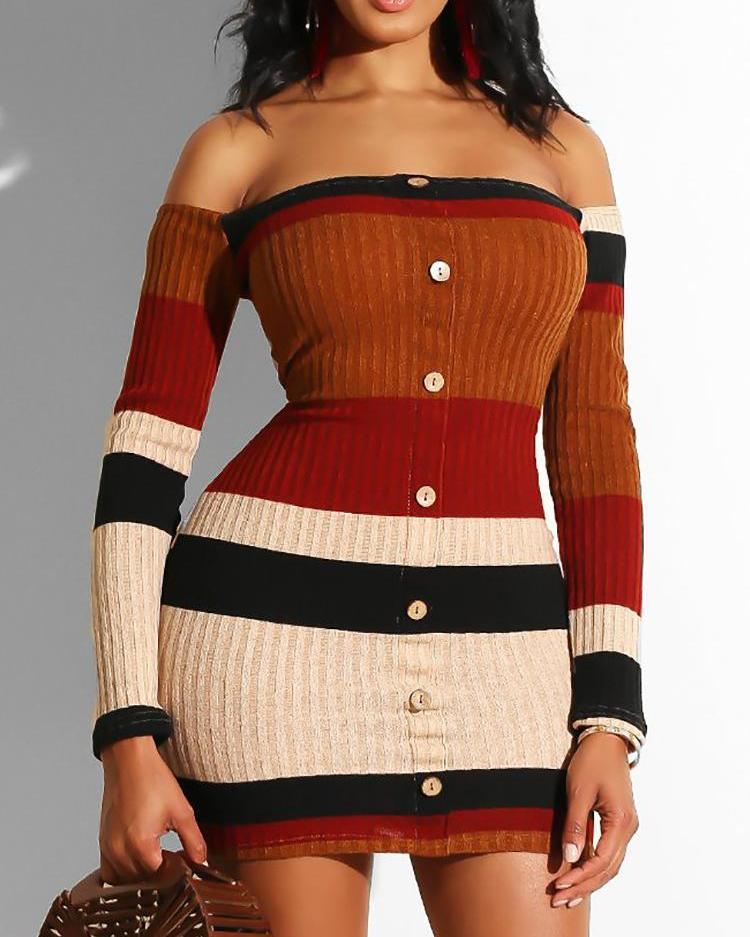 chicme / Listras Contraste Fora Ombro Bodycon Mini Vestido