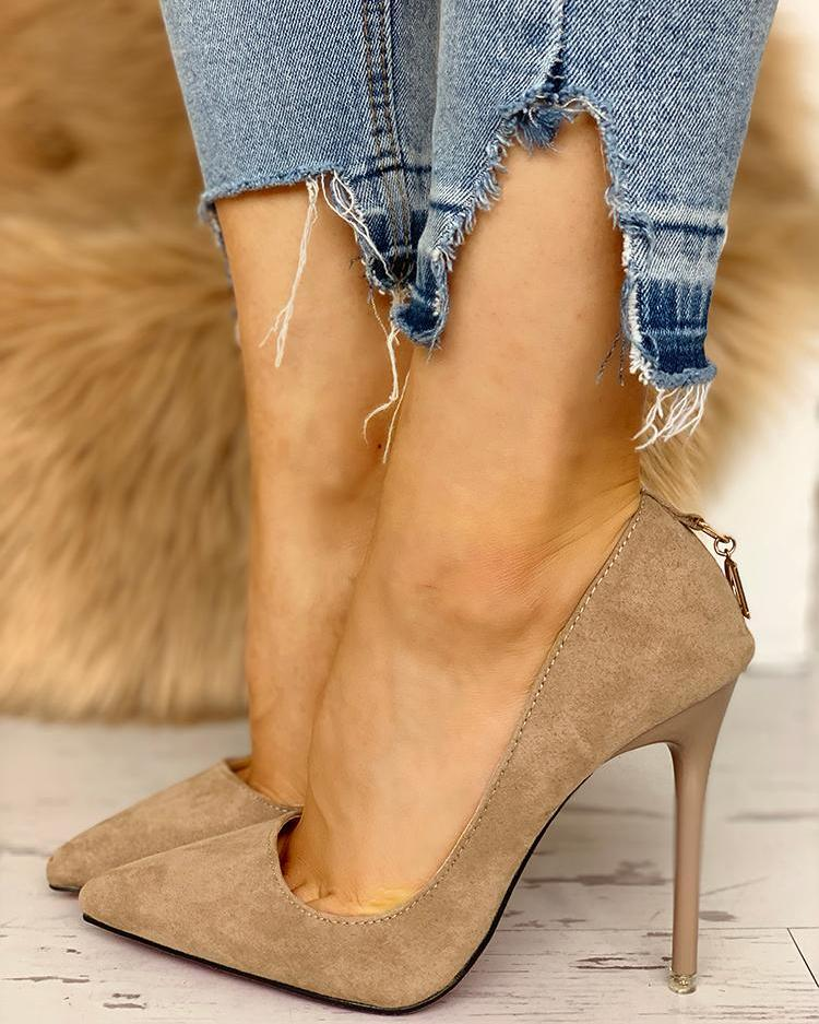 Suede Pointed Toe Zipper Back Thin Heels