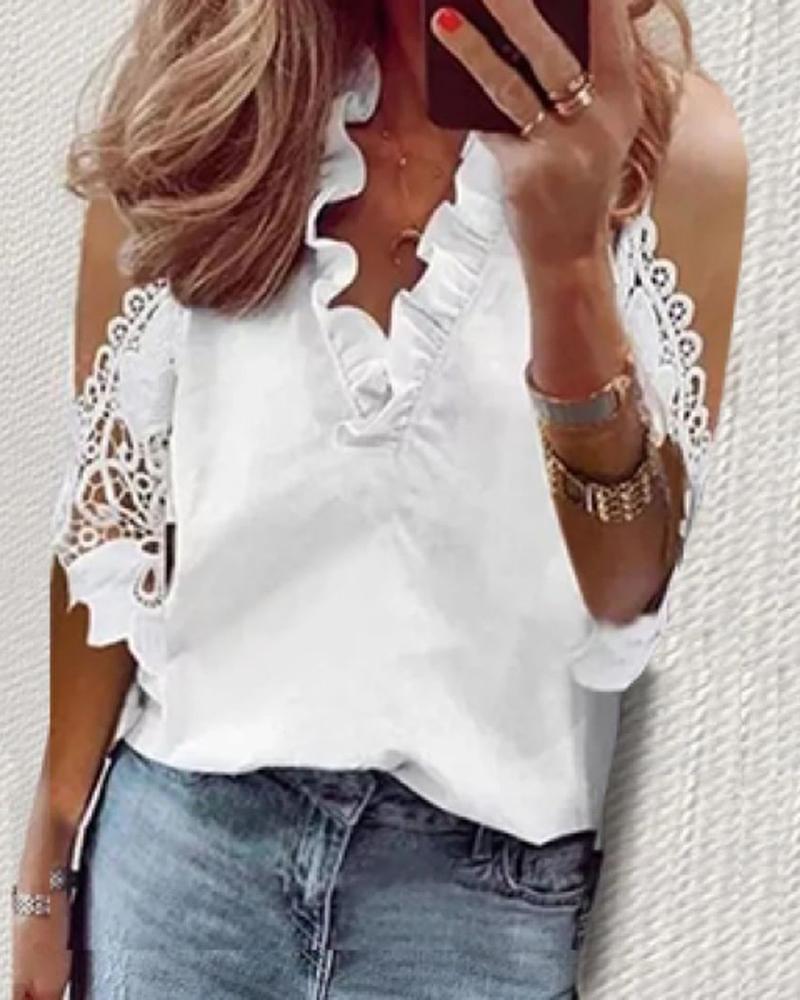Crochet Lace Cold Shoulder Casual Top фото