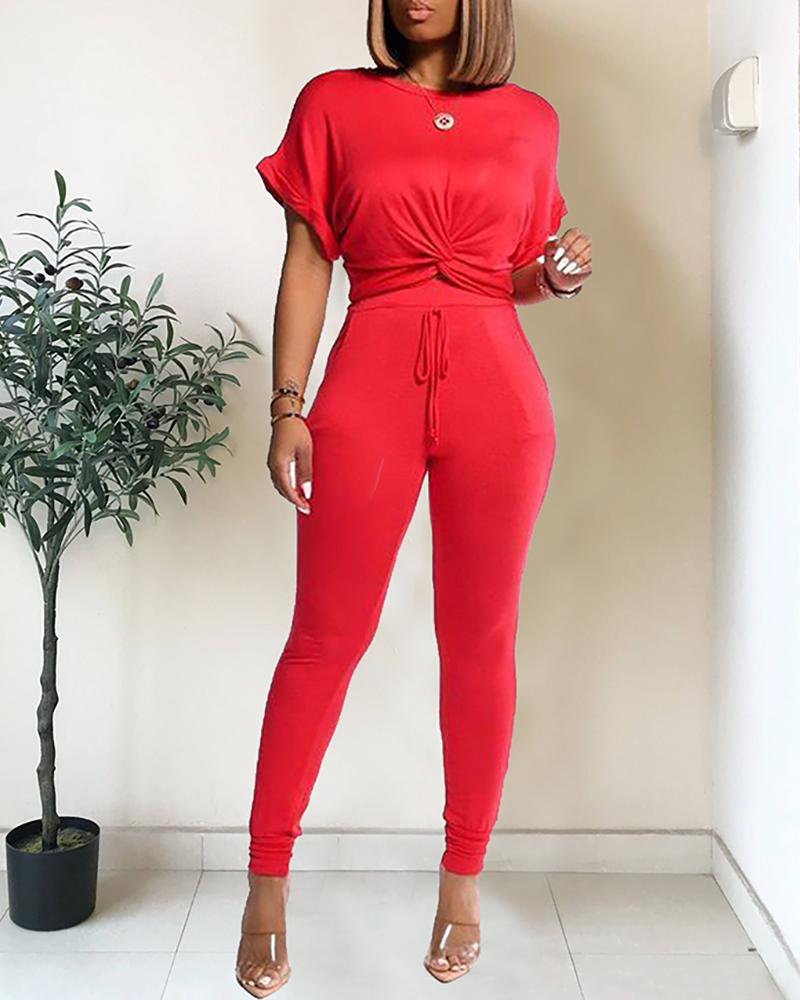 Solid Twisted Casual Top & Drawstring Pant Set фото