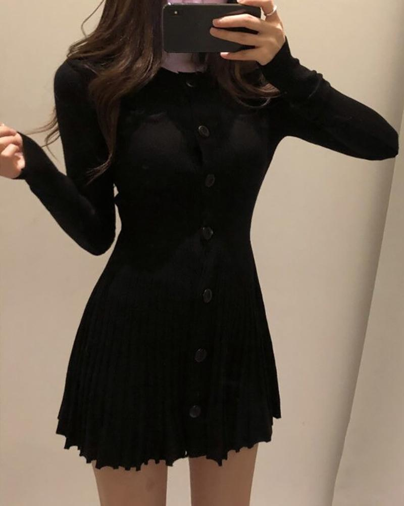 Solid Round Neck Riibbed Long Sleeve Buttoned Pleated Dress фото