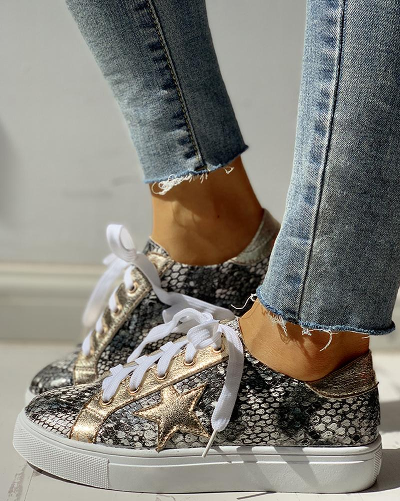 Glitter Lace-Up Star Pattern Casual Sneakers фото
