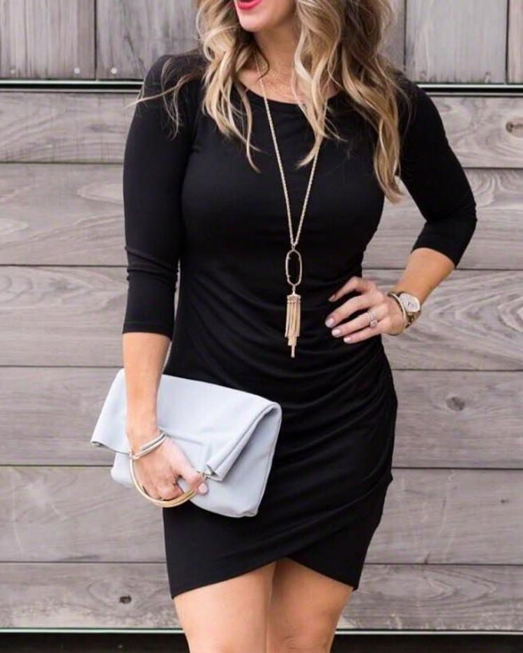 Long Sleeve Ruched Overlap Bodycon Dress фото