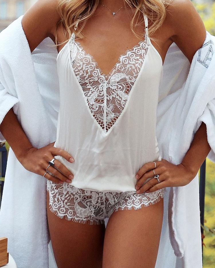 Alluring V Neck Lace Open Back Lingerie Romper