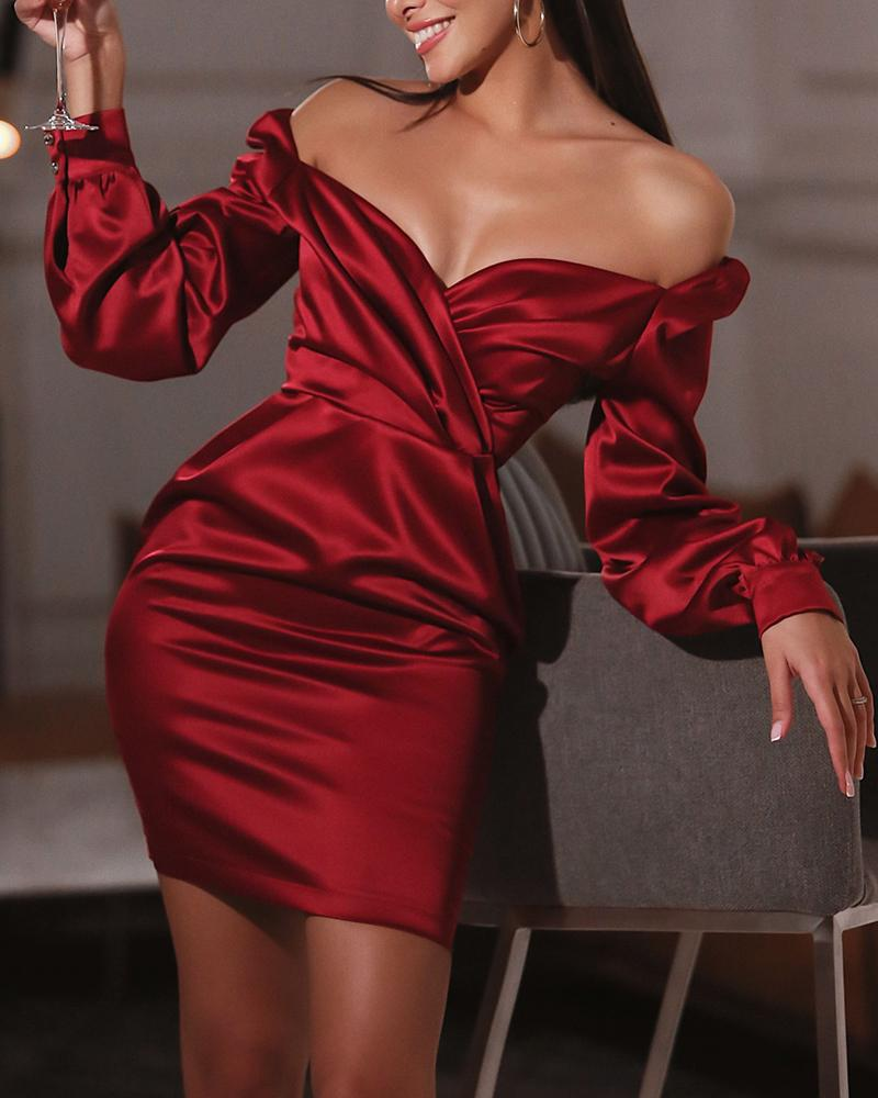 Solid Surplice Satin Mini Dress, Wine red