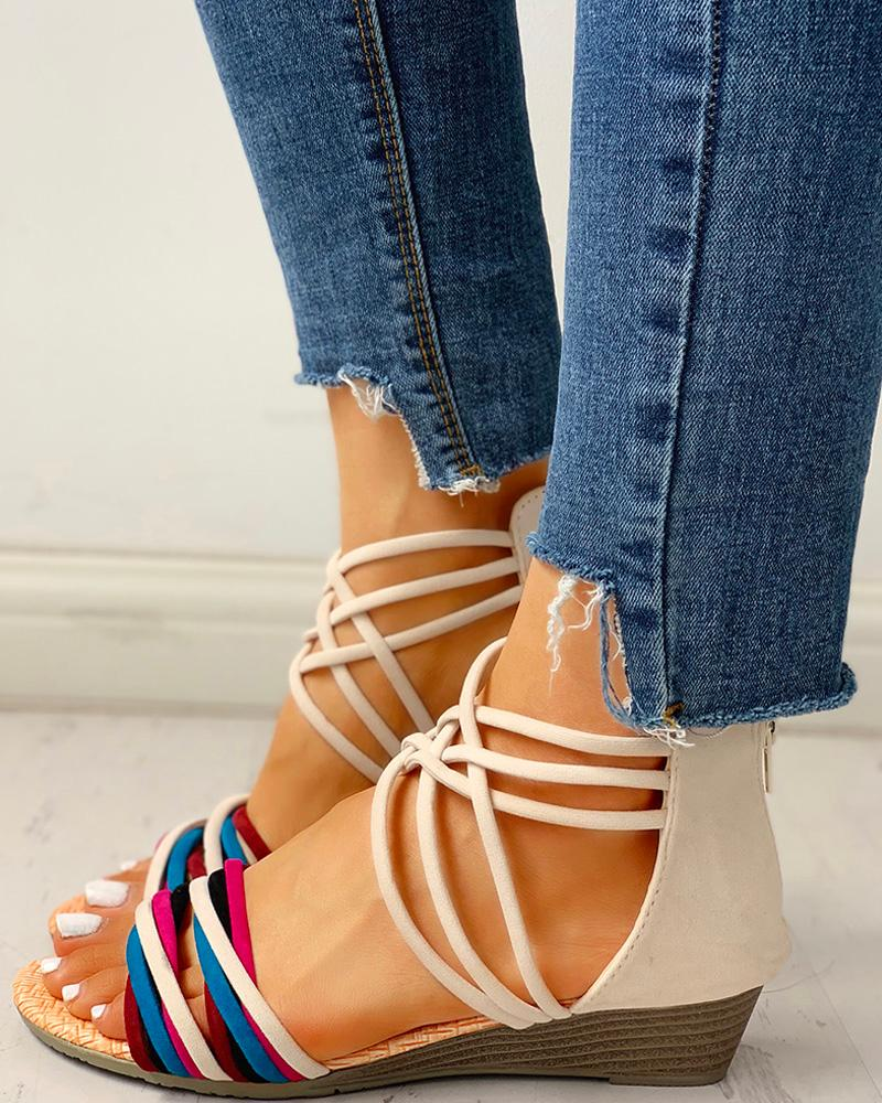 Colorful Multi-Strap Crisscross Design Sandals