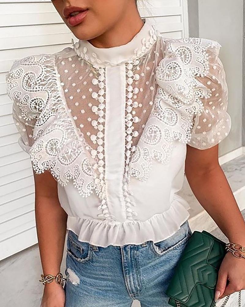 chicme / Blusa de manga de soplo de malla transparente de encaje de ganchillo