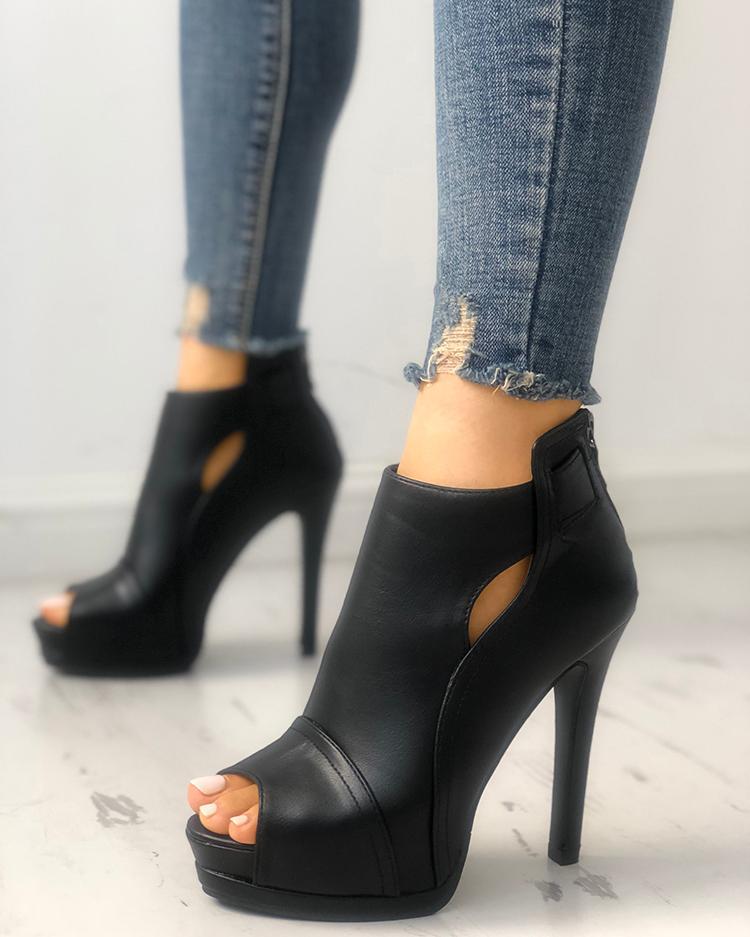 Fashion Peep Toe Cutout Thin Heels
