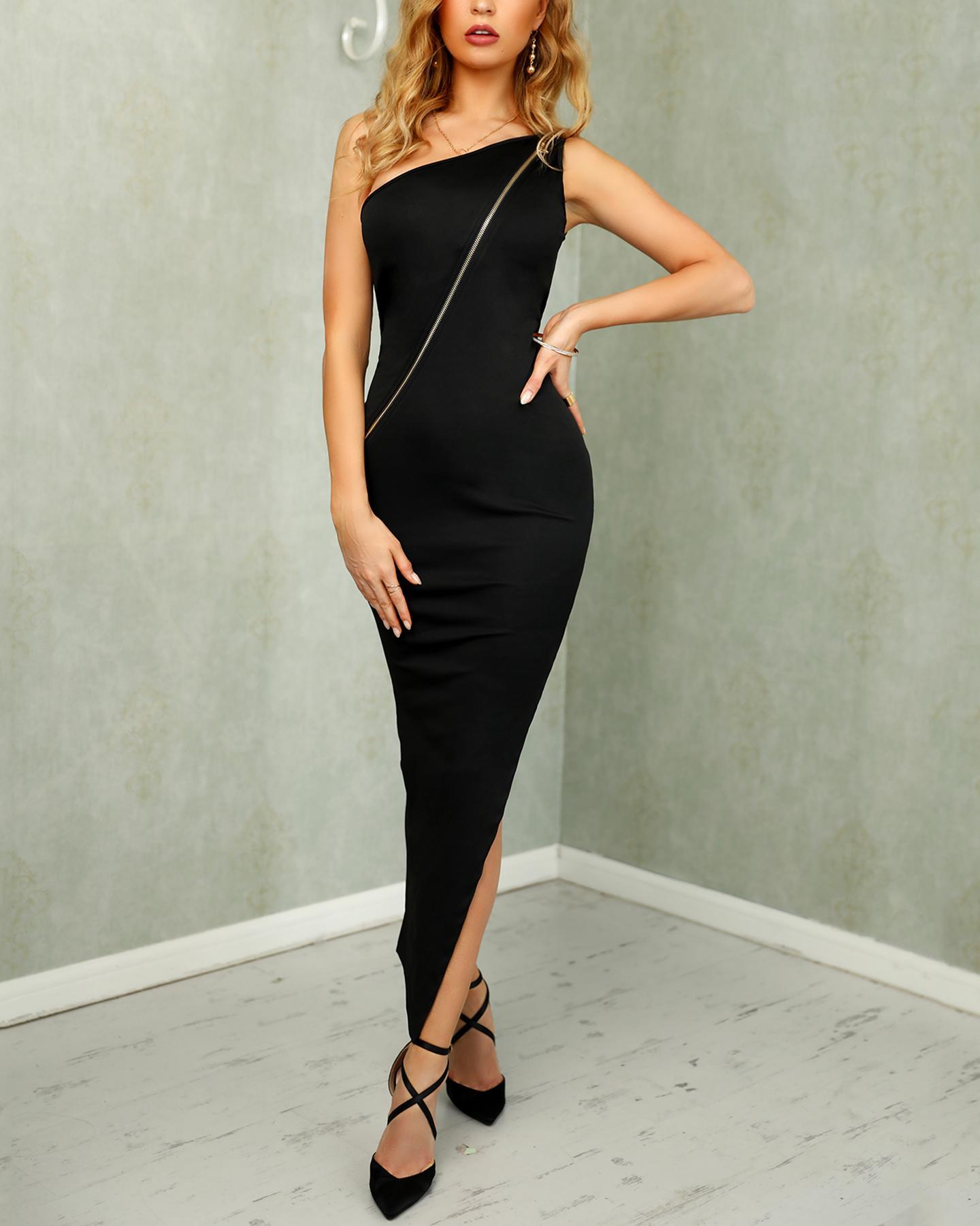 One Shoulder Zipper Design Slit Dress фото