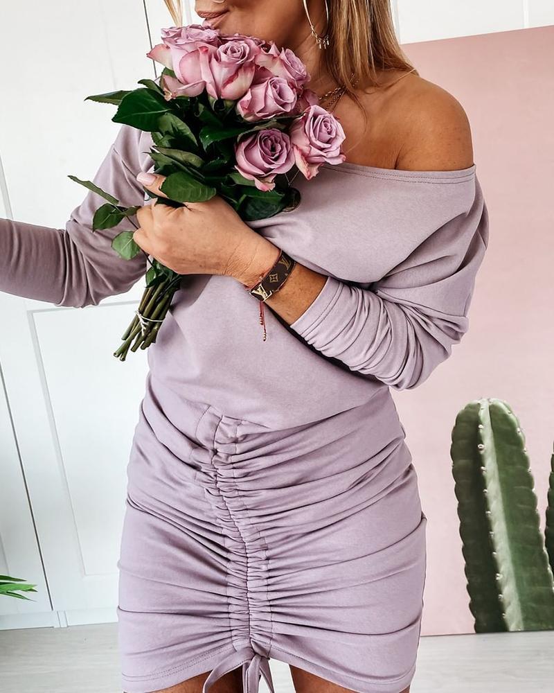 boutiquefeel / Vestido fruncido con cordón de manga larga liso